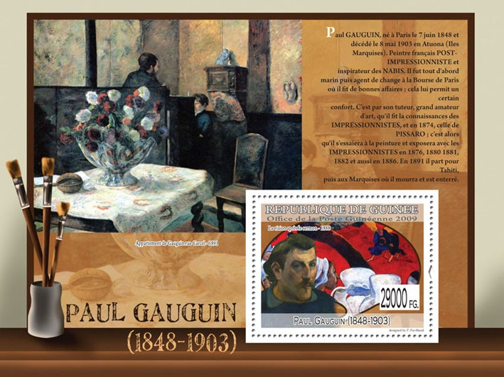 Paintings of Paul Gauguin (1848 - 1903) - Issue of Guinée postage stamps