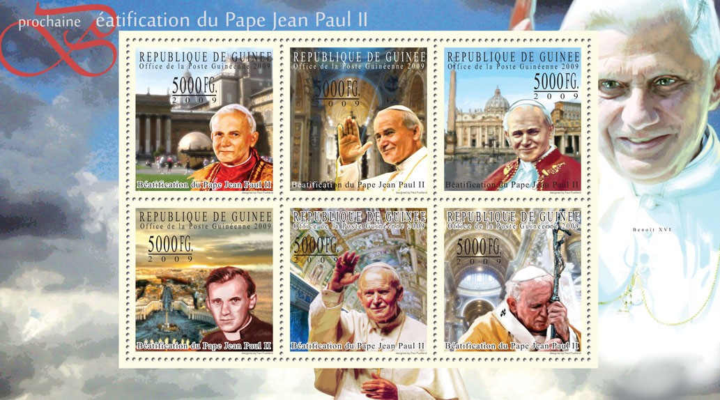 Next Beatification of Pope John Paul II - Issue of Guinée postage stamps