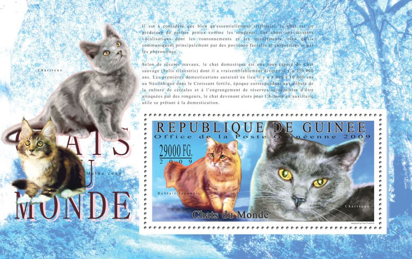 Cats of the World, I - Issue of Guinée postage stamps