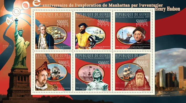 400th Anniversary of the Exploration of Manhattan by Adventurer Henry Hudson ( Sailing Ships ) - Issue of Guinée postage stamps