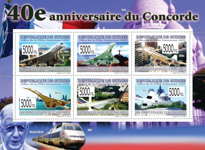 40th Anniversary of Concorde  I - Issue of Guinée postage stamps