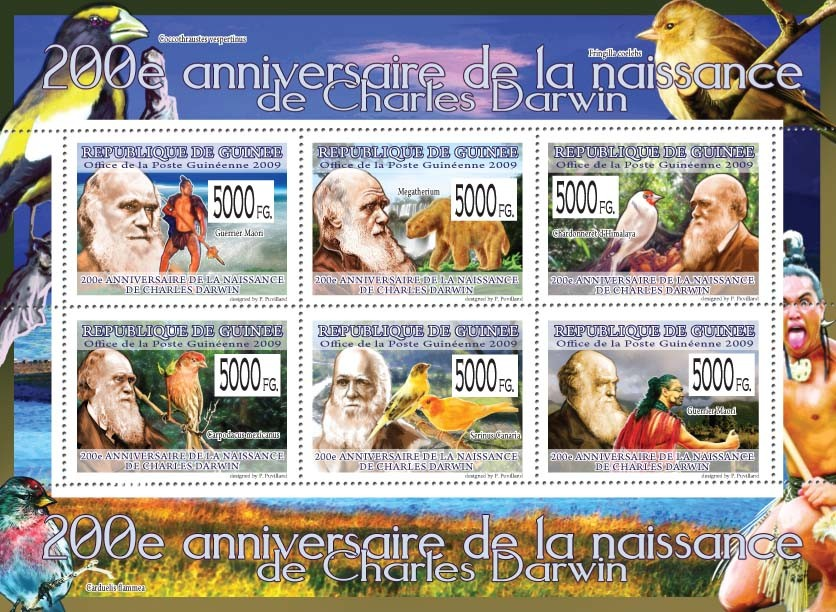 200th Anniversary of Charles Darwin  ( Birds & Animals ) II - Issue of Guinée postage stamps