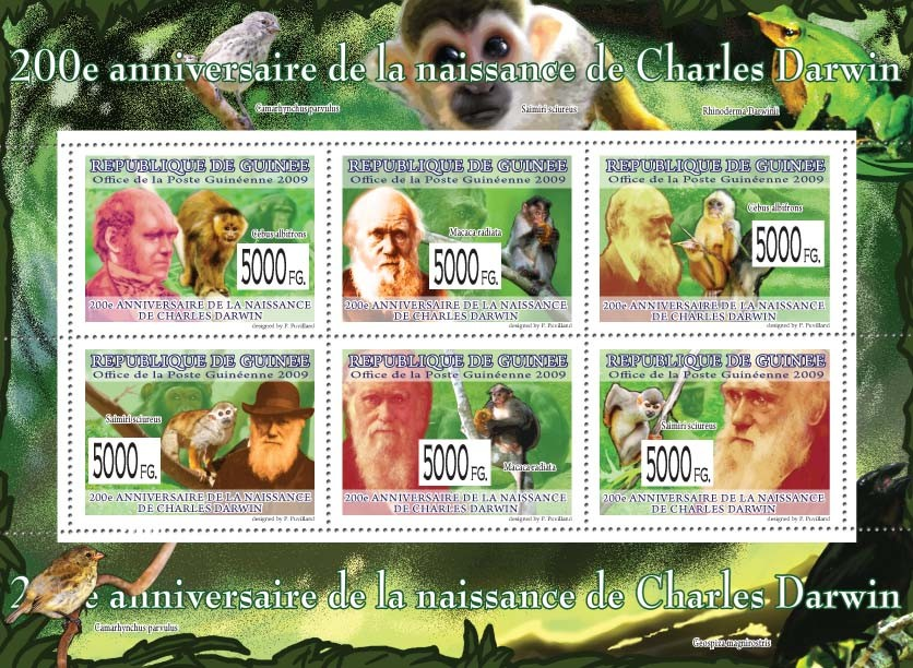 200th Anniversary of Charles Darwin  ( Monkeys ) III - Issue of Guinée postage stamps