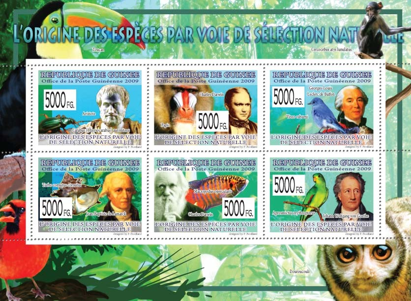 The Origin of Species Through Natural Selection,Aristotle, Charles Darwin, G.L.L de Buffon - Issue of Guinée postage stamps