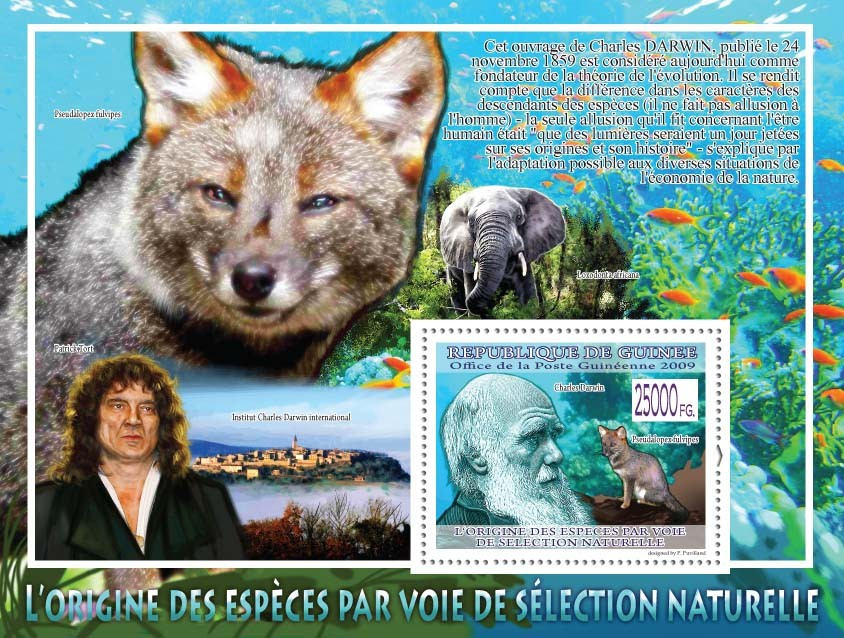 Charles Darwin, Fox ( Elephant, Patrick Tort ) - Issue of Guinée postage stamps