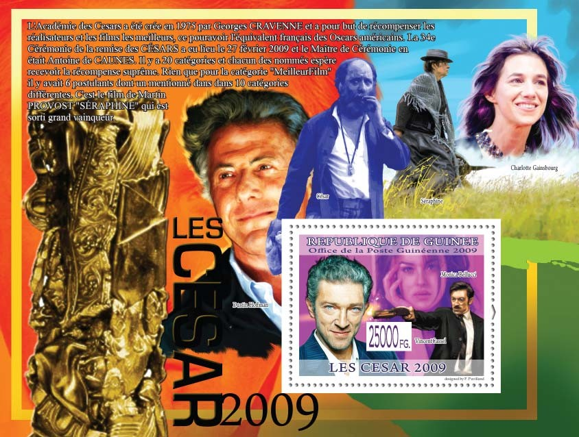 Vincent Cassel, Monica Belllucci ( Dustin Hoffman ) - Issue of Guinée postage stamps