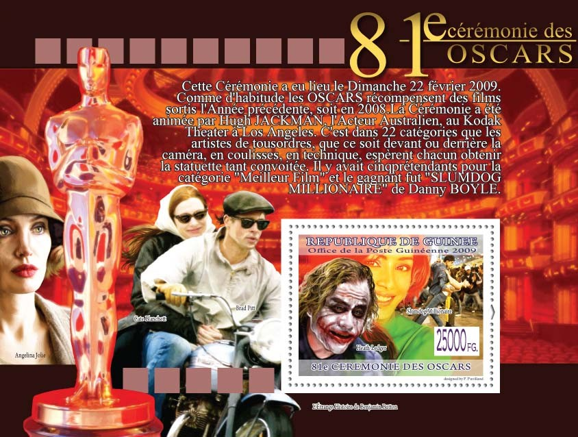 Heath Leger, Slumdog Millionaire?タᆵ ( Brad Pitt ) - Issue of Guinée postage stamps