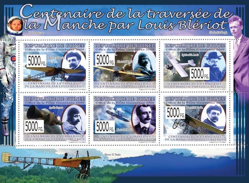 Centenary of the Crossing of the Handle by Luis Bleriot, Planes ( Bleriot XI Thulin ) - Issue of Guinée postage stamps