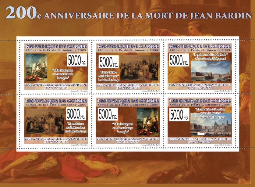 200th  Anniversary of Jean Bardin,( Paintings ) - Issue of Guinée postage stamps