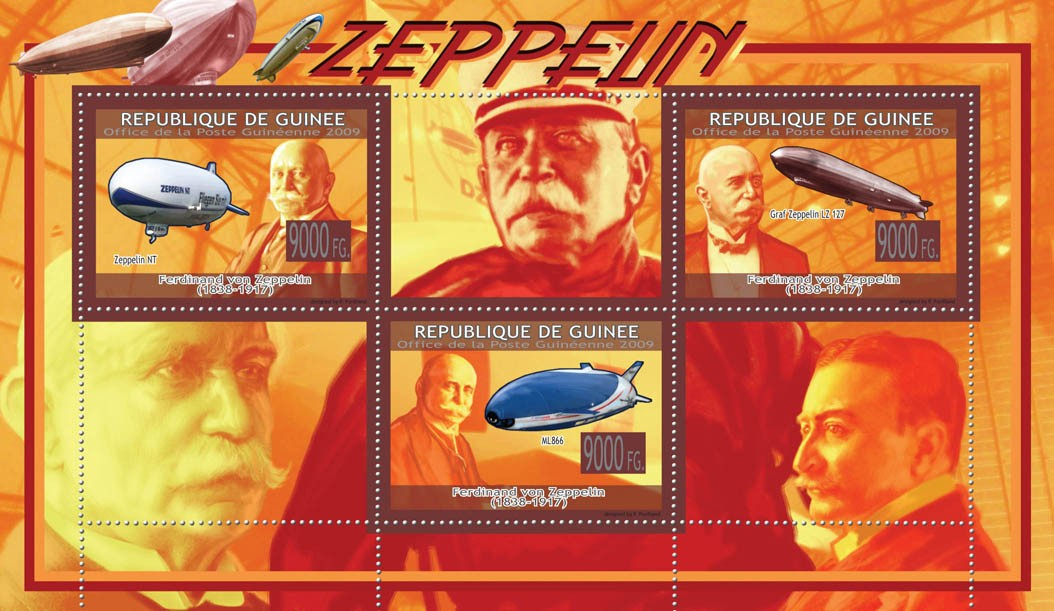 Zeppelins, Ferdinand von Zeppelin ( 1838  1917 ) - Issue of Guinée postage stamps