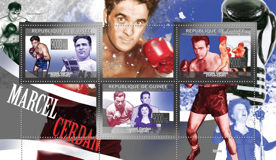 Boxing, Marcel Cerdan ( 1916  1949 ) - Issue of Guinée postage stamps