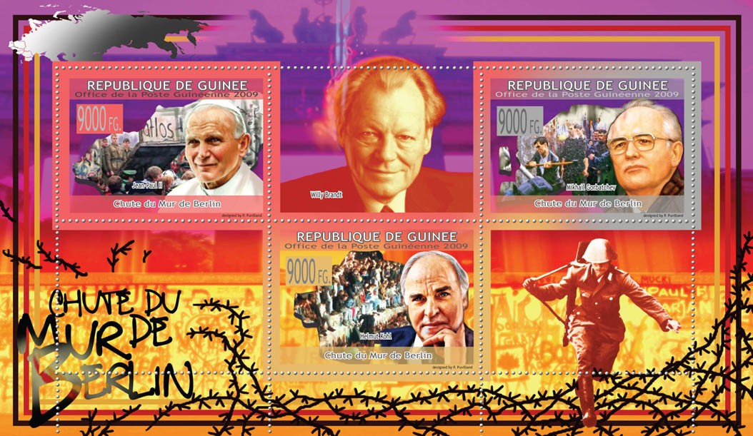 Fall of the Berlin WallPope, M.Gorbatchev, Helmut Cohl ( Willy Brandt ) - Issue of Guinée postage stamps