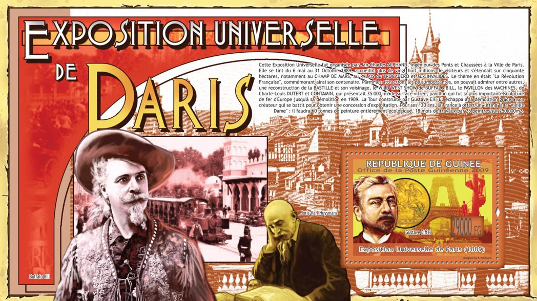 Paris Exposition 1889, Gustave Eiffel( Joris-Karl Huismans, Buffalo Bill ) - Issue of Guinée postage stamps