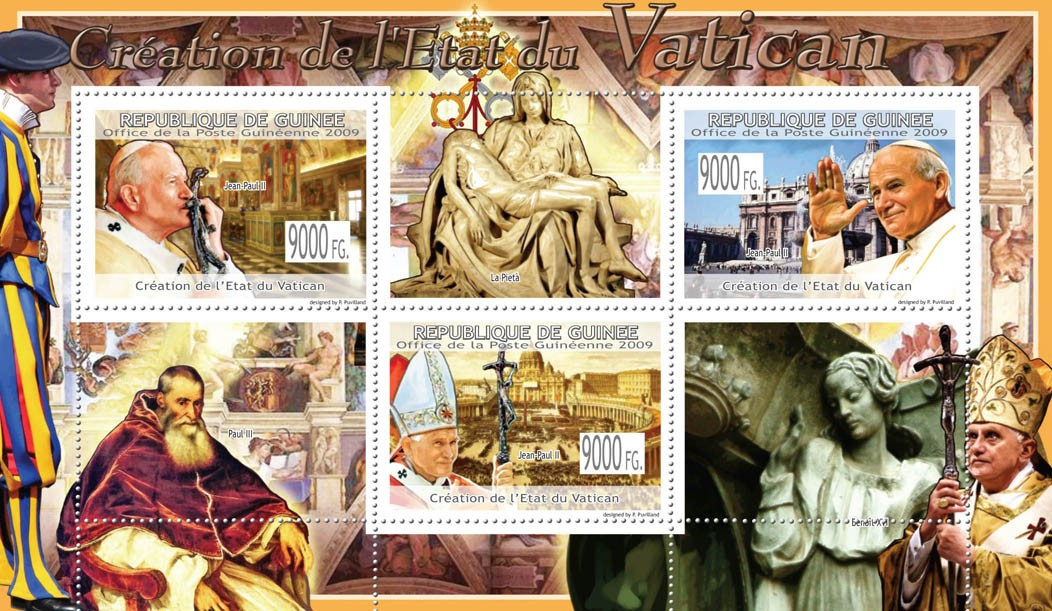 Creation of the Vatican StatePope J.Paul II ( Paul III, Benedict  XVI ) - Issue of Guinée postage stamps