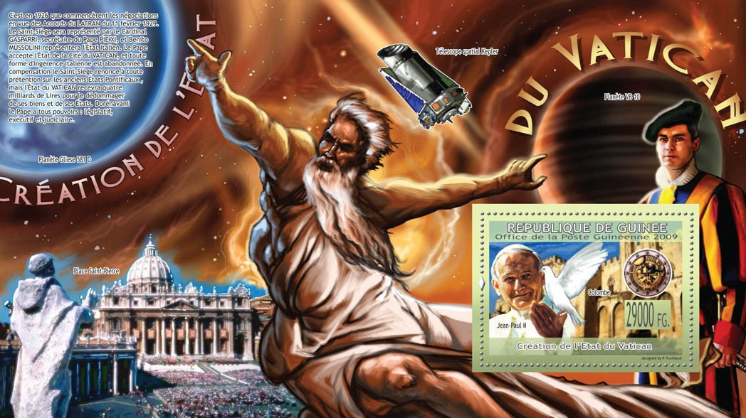 Creation of the Vatican StateJ.Paul II, Place Saint-Pierre - Issue of Guinée postage stamps