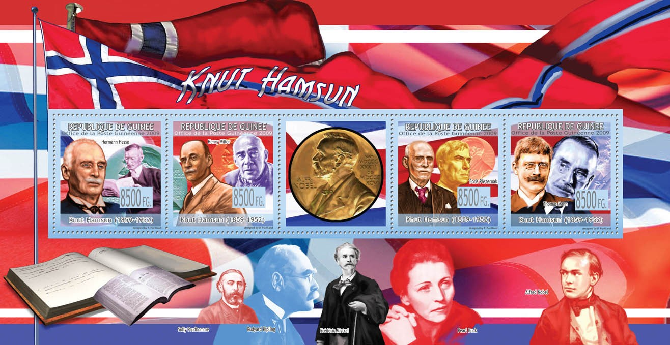 Knut Hamsun ( 1859  1952 )Hermann Hesse, Henry Miller, Boris Pasternak, Thomas Mann - Issue of Guinée postage stamps