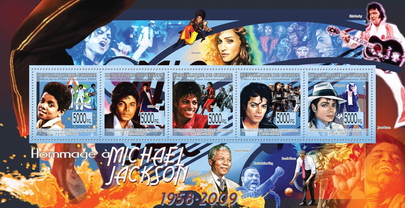 Tribute to Michael Jackson ( 1958  2009 )The Jackson Five?タᆵ, Of the Wall?タᆵ, Thriller?タᆵ, Bad?タᆵ, Dangerous?タᆵ - Issue of Guinée postage stamps