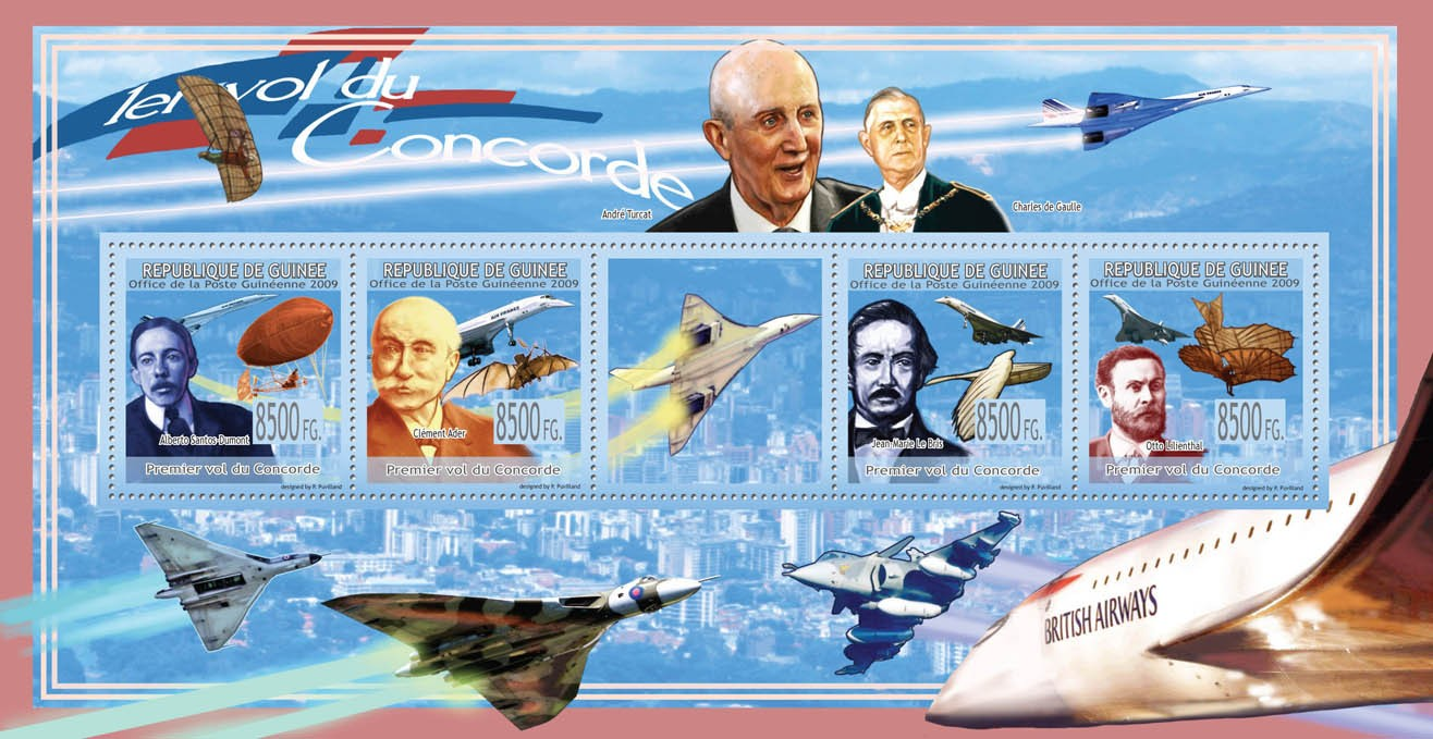 First Flight of ConcordeA.S.Dumont, C.Ader, J.M.le Bris, O.Lilienthal - Issue of Guinée postage stamps