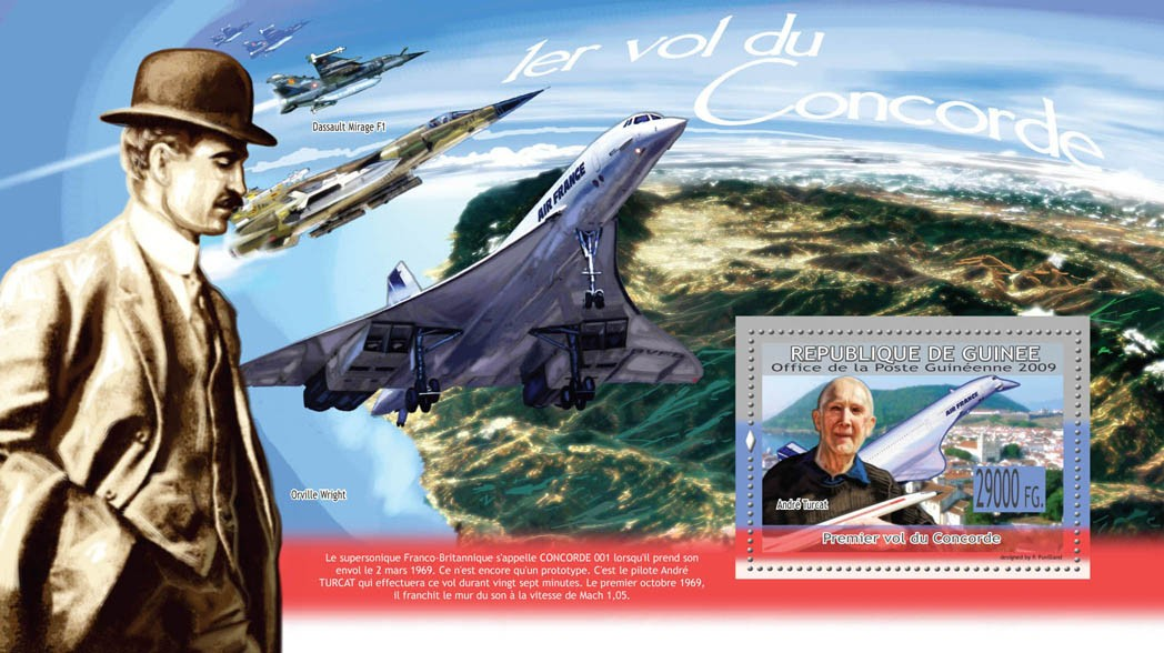 First Flight of ConcordeAndre Turcat ( Orville Wright, Dassault Mirage F1 ) - Issue of Guinée postage stamps