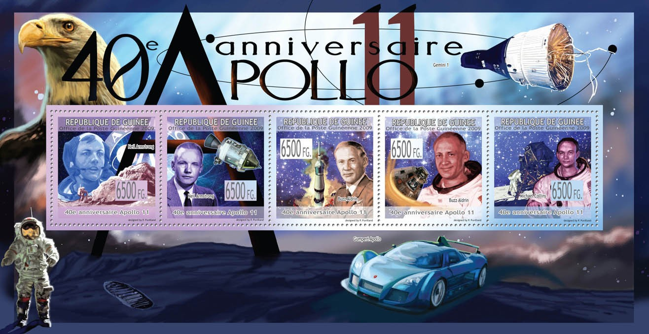 40th Anniversary of Apollo 11Neil Armstrong, Buzz Aldrin, Michael Collins ( Space ) - Issue of Guinée postage stamps