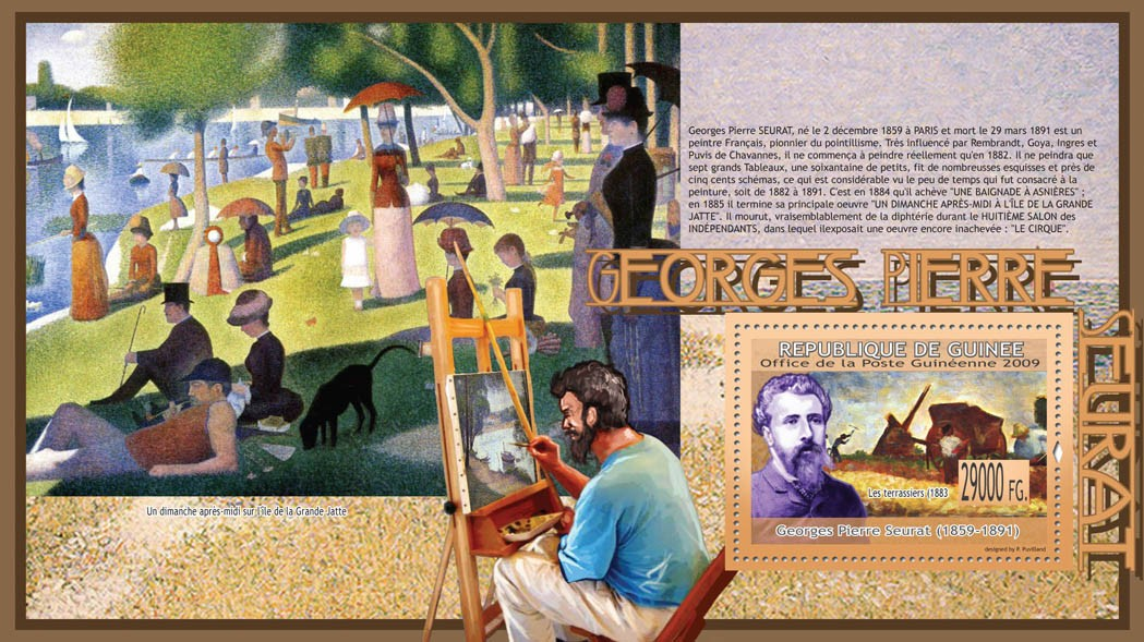 Paintings of Georges Pierre Seurat ( 1859  1891 ) - Issue of Guinée postage stamps