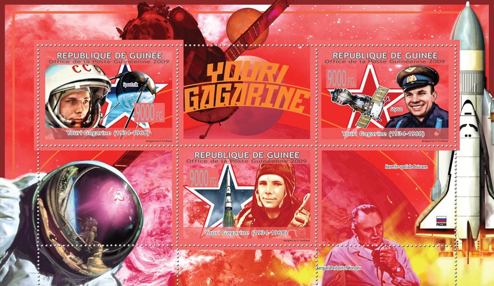 Youri Gagarine ( 1934 -1968 ), Space Shuttle, Probe - Issue of Guinée postage stamps