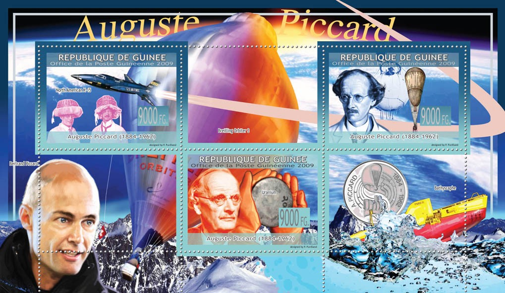 Auguste Piccard ( 1884  1962 ), Aircrafts, Balloons - Issue of Guinée postage stamps