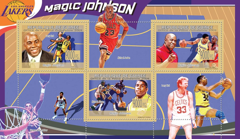 Magic Johnson, Basketball ( M.Jordan, L,Bird ) - Issue of Guinée postage stamps