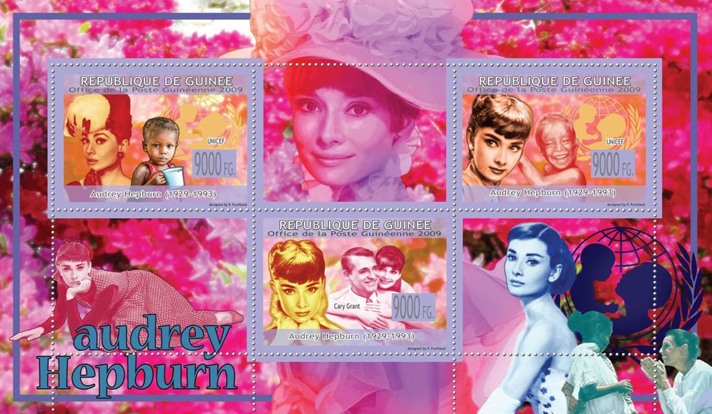 Audrey Hepburn ( 1929  1993 ), UNICEF, C.Grant - Issue of Guinée postage stamps