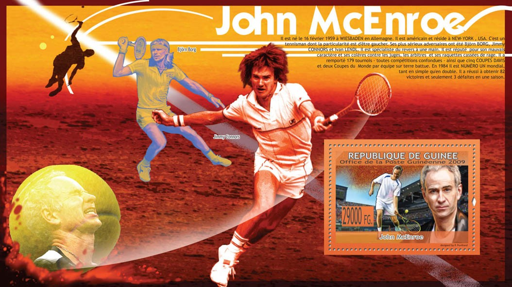 John McEnroe, Lawn Tennis,  ( Jimmi Connors, B.Borg, I.Lendl ) - Issue of Guinée postage stamps