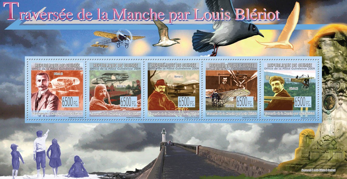 Channel crossing by Louis Bleriot, Ancients Aircrafts - Issue of Guinée postage stamps