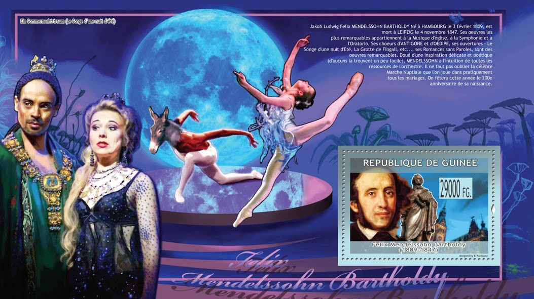 Felix Mendelssohn Bartholdy (1809-1847), The Dream of a Summer Night?タᆵ - Issue of Guinée postage stamps