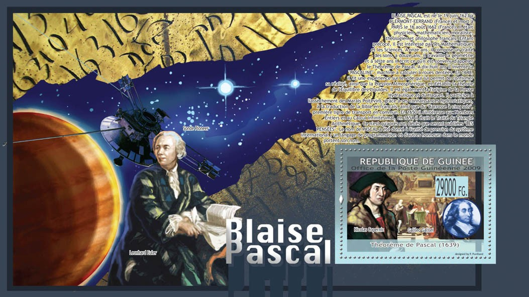 Pascal Blaise ( 1639 ), Pascal's Theorem - Issue of Guinée postage stamps