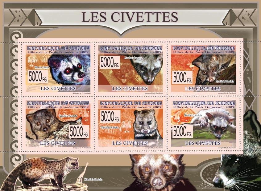 Civets,  Viverra civetta, Nandinia binotata. - Issue of Guinée postage stamps