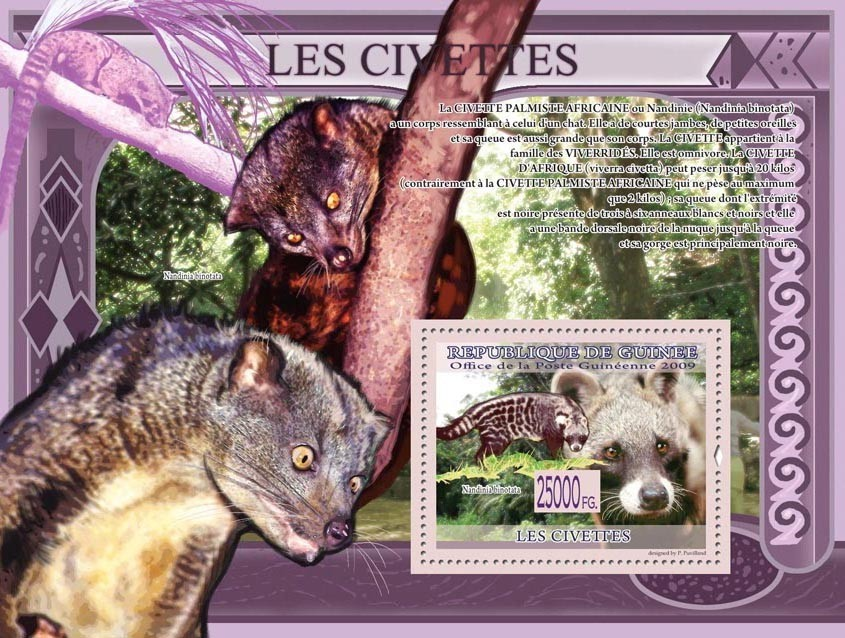 Civets,  Nandinia binotata. - Issue of Guinée postage stamps