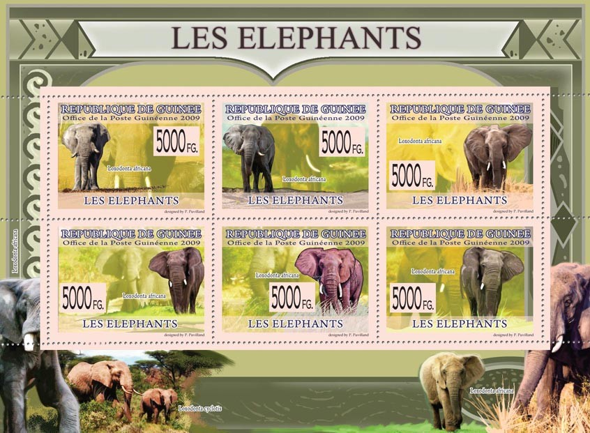 Elephants, Loxodonta africana ( Lochodonta Cyclotis ) - Issue of Guinée postage stamps