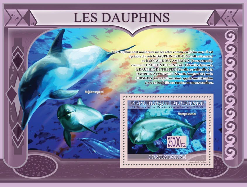 Dolphins, Turciops turncatus ( Delhinus capensis ) - Issue of Guinée postage stamps