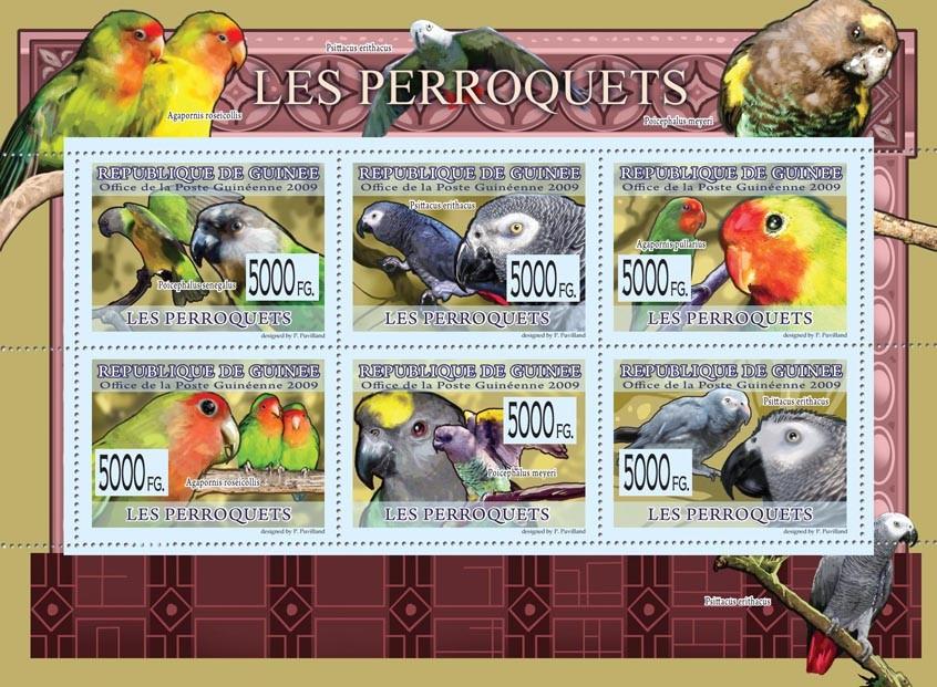 Parrots, Poicephalus senegalus, Psittacus erithacus, Agapornis pullarius, etc - Issue of Guinée postage stamps