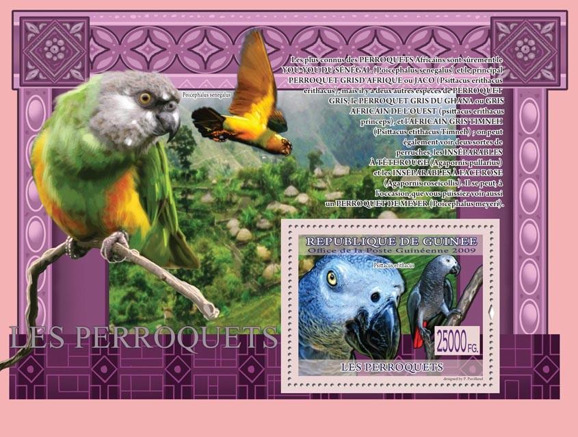 Parrots, Psittacus erithacus ( Poicephalus senegalus ) - Issue of Guinée postage stamps