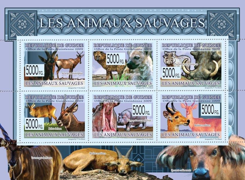 Wild Animals, Kobus defassa, Alcelaphus buselaphus, Crosuta crocuta, etc - Issue of Guinée postage stamps