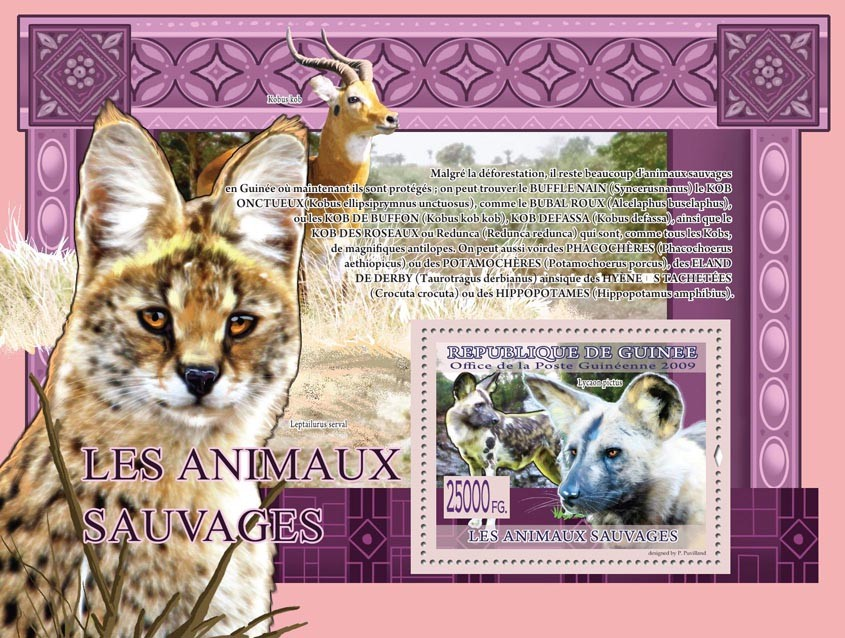 Wild Animals, Lycaon pictus ( Kobus kob, Leptailurus serval ) - Issue of Guinée postage stamps