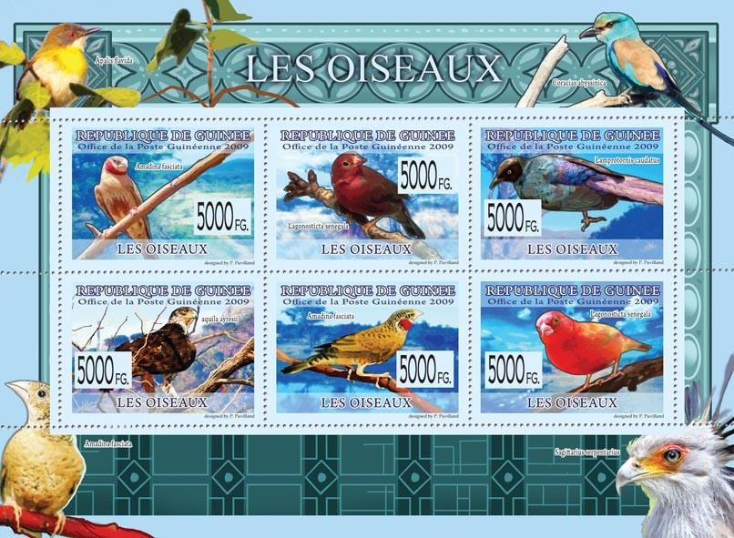 Birds, Amadina faciata, Lagonosticta senegala, Aquila ayresii, etc - Issue of Guinée postage stamps