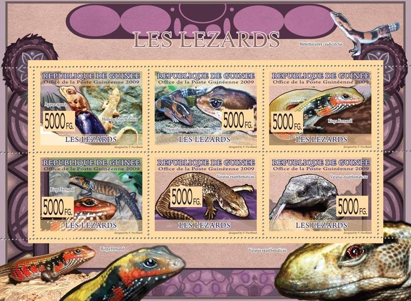 Lizards, Hemidactilus mabouia, Riopa Fernandi, Varanus exanthematicus - Issue of Guinée postage stamps
