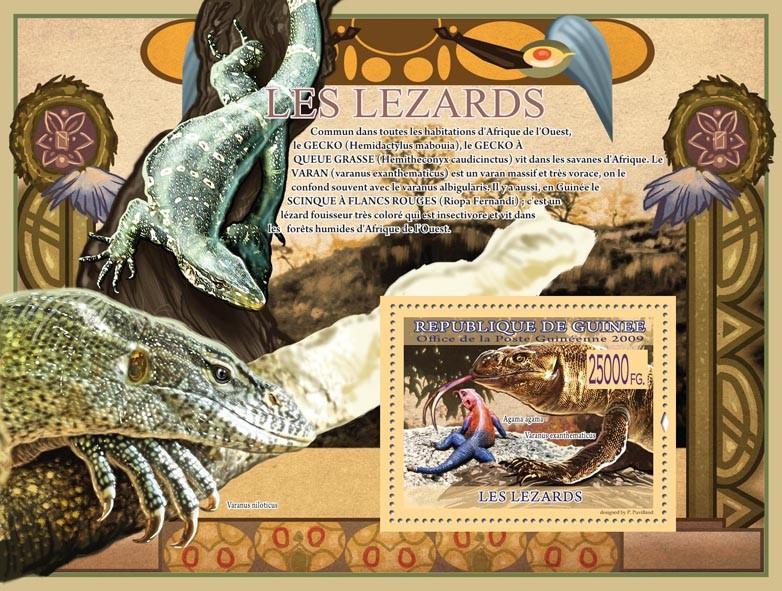 Lizards, Agama agama,Varanus exanthematicus ( Varanus niloticus ) - Issue of Guinée postage stamps