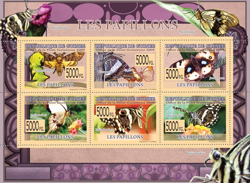 Butterflies, Acheronita atropos, Charaxes pollux, Papilio dardanus, etc - Issue of Guinée postage stamps