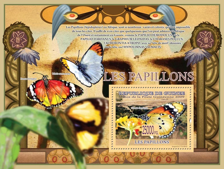 Butterflies, Danus chrysippus ( Colotis aurora evarne ) - Issue of Guinée postage stamps
