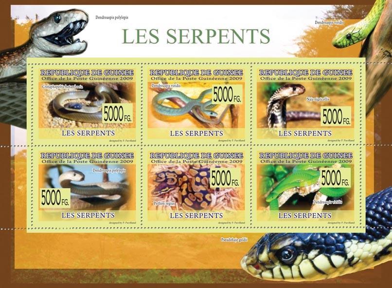 Snakes, Naja nigrocollis, Python regius, Dendroaspis viridis, etc - Issue of Guinée postage stamps