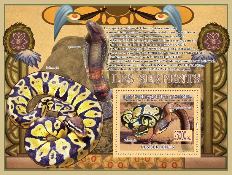 Snakes, Python regius, Crotaphopeltis hotamboeia - Issue of Guinée postage stamps