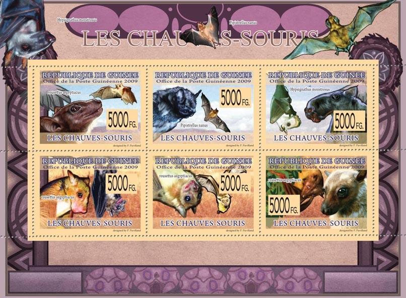 Bats, Rousetus aegyptiacus, Pipistrellus nanus, Hipsignathus monstrosus - Issue of Guinée postage stamps