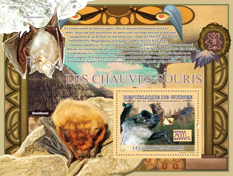 Bats, Mops condylurus ( Neoromicia nanus ) - Issue of Guinée postage stamps